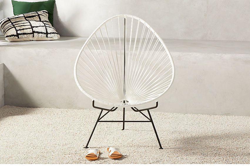 Pear-shaped woven chair.