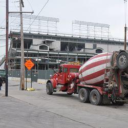 Concrete trucks waiting on Waveland