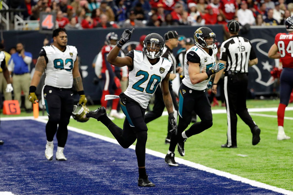 Jalen Ramsey celebrates after breaking up a Texans pass