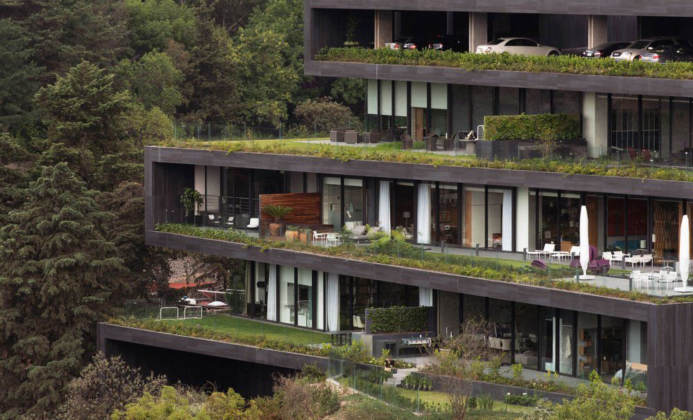 Apartment building with green terraces