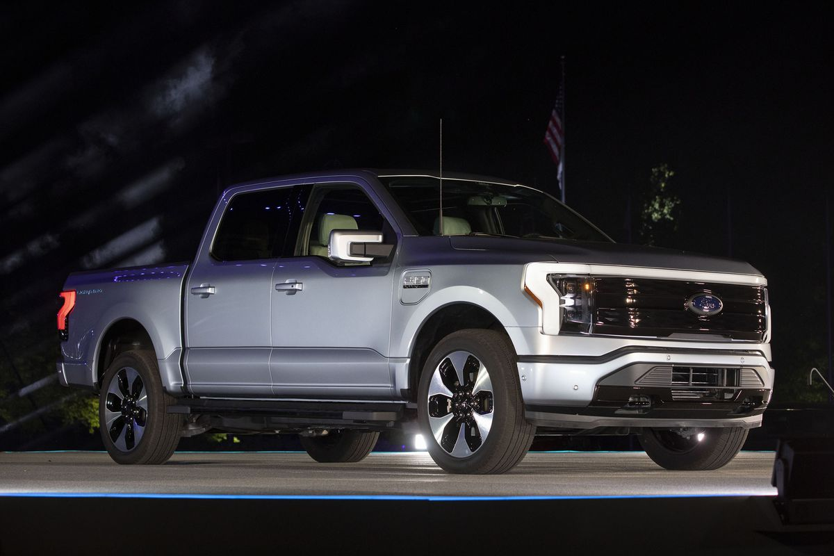 The all-electric Ford F-150 Lightning performance pickup truck is revealed at a livestream event at Ford World Headquarters on May 19, 2021 in Dearborn, Michigan.