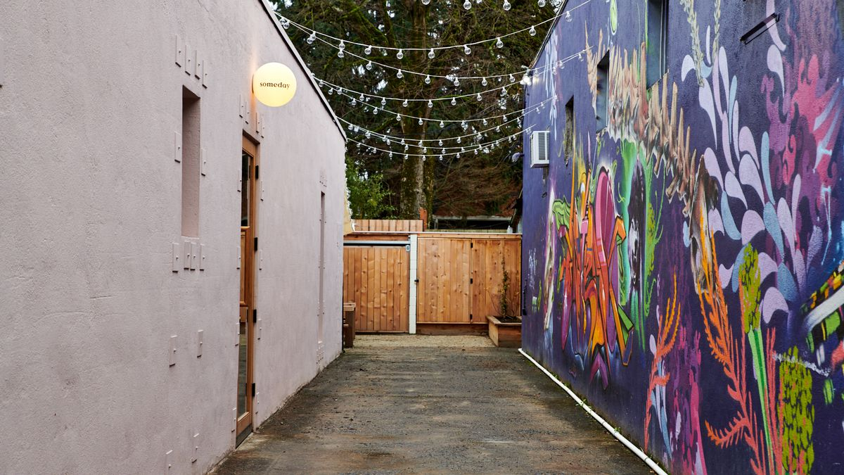 A colorful alleyway marks the way to Someday