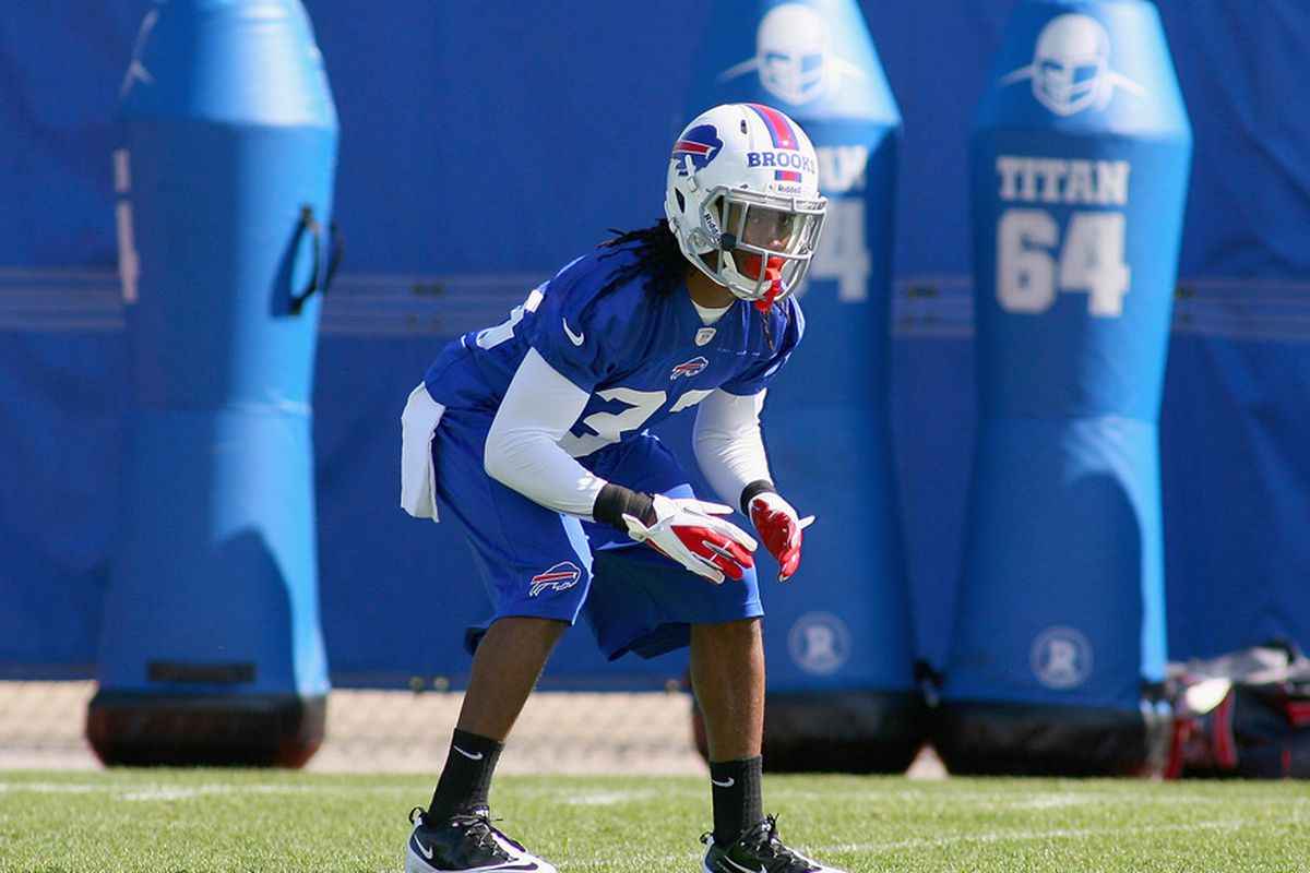 ORCHARD PARK, NY - MAY 11: Ron Brooks #33 of  the Buffalo Bills runs drills during  Buffalo Bills Rookie Camp on May 11, 2012 in Orchard Park, New York.  (Photo by Rick Stewart/Getty Images)