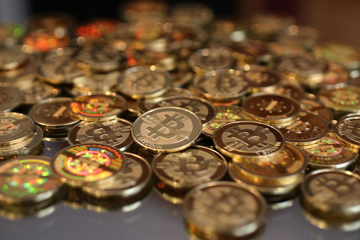 A pile of Bitcoins (or at least a pile of minted representations of Bitcoins).