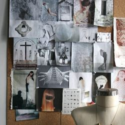 """<strong>This is Lombardi's mood board.</strong> """"I start by pulling together images that I'm drawn to, often that have nothing in common,"""" she says. """"The next step is filtering the selection down to a group that works well together, and rearranging them a"""