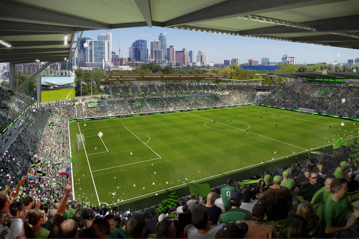Rendering of soccer stadium with Austin skyline in the background