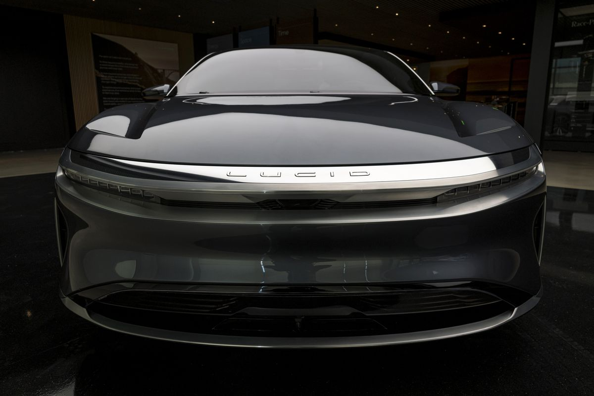 The front of a car made by Lucid Motors.