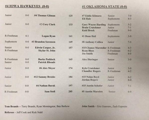 Iowa Okie State match list