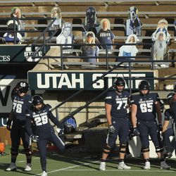 The Utah State Aggies and the Fresno State Bulldogs play without a crowd due to COVID-19 restrictions in Logan on Saturday, Nov. 14, 2020.