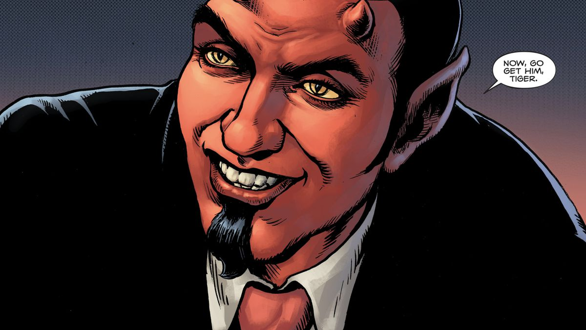 """""""Now, go get him, Tiger,"""" says the Devil, with his goatee and his little horns, dressed in a suit with a red tie, in Hellblazer: Rise and Fall #3, DC Comics (2021)."""
