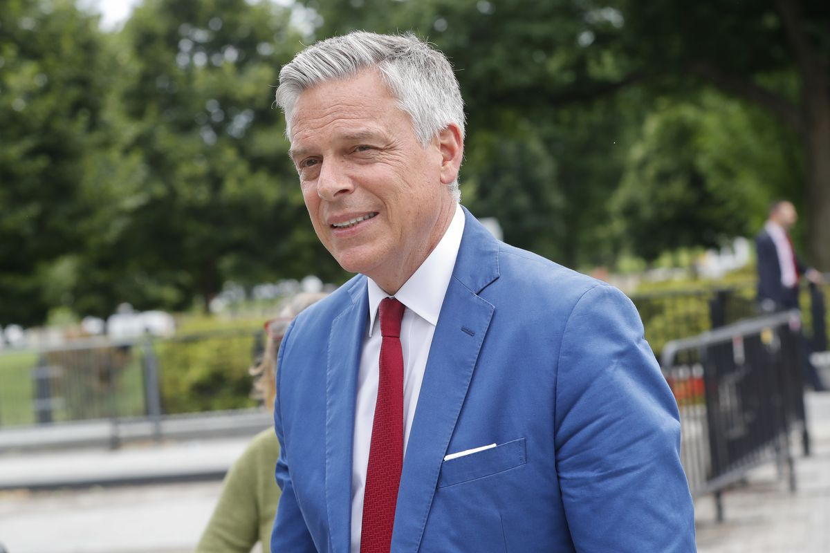FILE - Jon Huntsman, U.S. ambassador to Russia, is seen arriving at the security check point entrance of the White House in Washington, Wednesday, May 30, 2018. Huntsman met with Navy leaders in Italy this week as Russia has increased its naval activity i