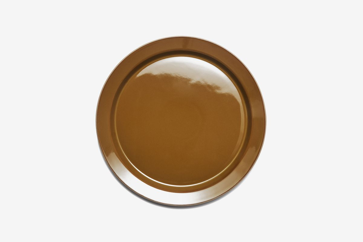 A brown ceramic plate