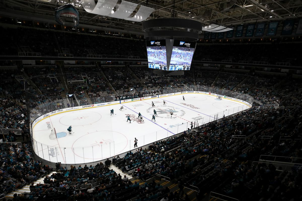 A general view of the San Jose Sharks playing against the Vegas Golden Knights at SAP Center on October 04, 2019 in San Jose, California.