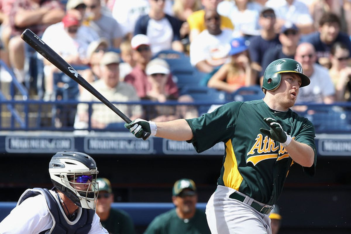 PEORIA, AZ - MARCH 06:  Cliff Pennington #2 of the Oakland Athletics bats against the San Diego Padres during the spring training game at Peoria Stadium on March 6, 2011 in Peoria, Arizona.  (Photo by Christian Petersen/Getty Images)