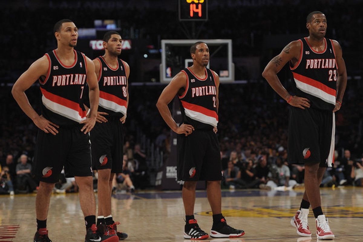 The Blazers go for a rebound against the Los Angeles Lakers in their 96-121 loss.