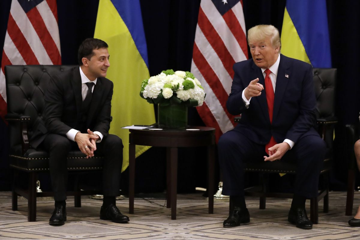 President Donald Trump meets with Ukrainian President Volodymyr Zelensky during the United Nations General Assembly.