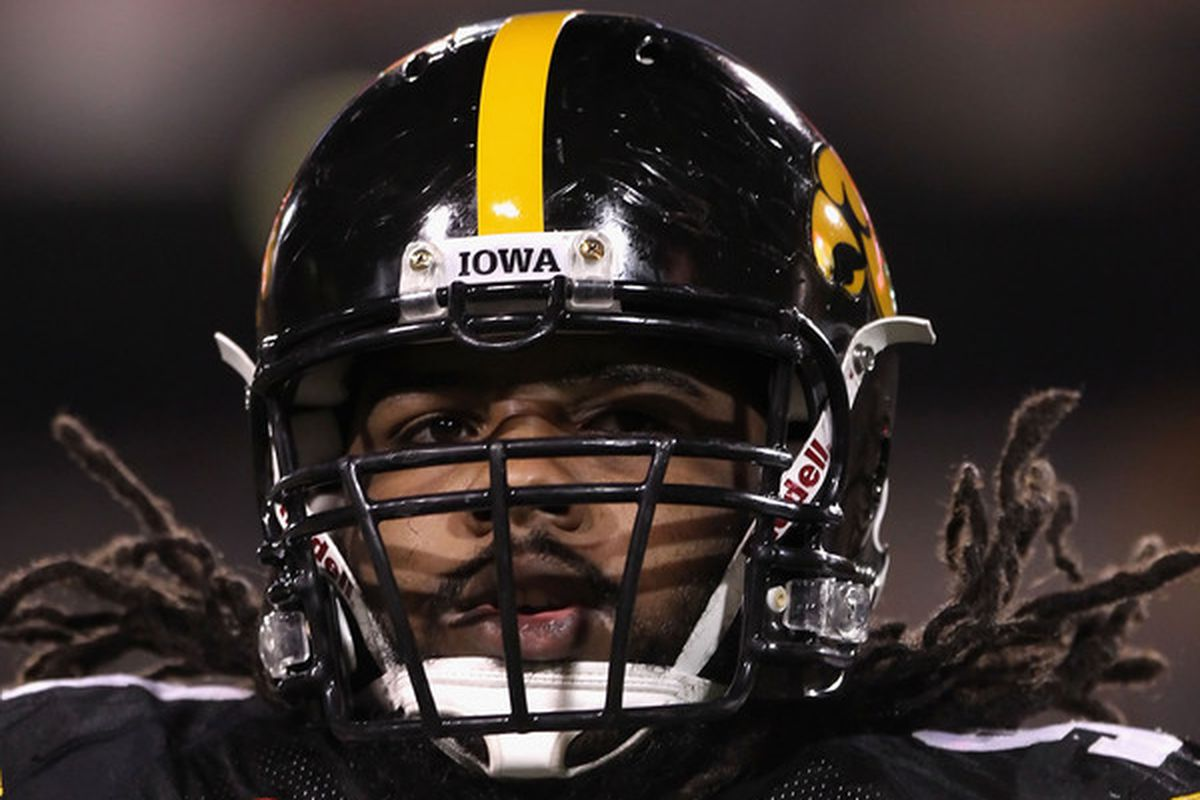 TEMPE AZ - DECEMBER 28:  Defensive end Adrian Clayborn #94 of the Iowa Hawkeyes warms up before the Insight Bowl against the Missouri Tigers at Sun Devil Stadium on December 28 2010 in Tempe Arizona.  (Photo by Christian Petersen/Getty Images)