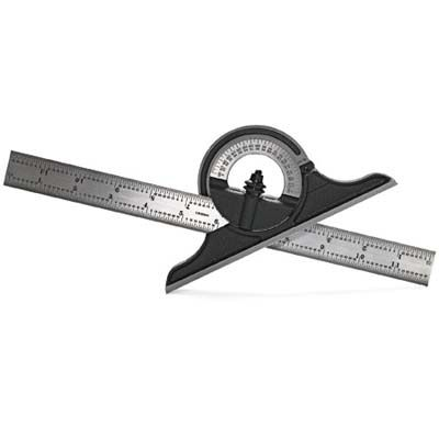 A bevel protractor has a protractor in the center, a bevel blade, and a ruler making it precise angle measuring tool.