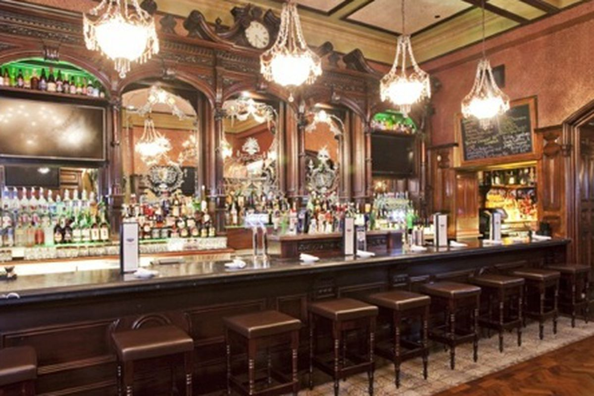 A bar in an Irish pub.