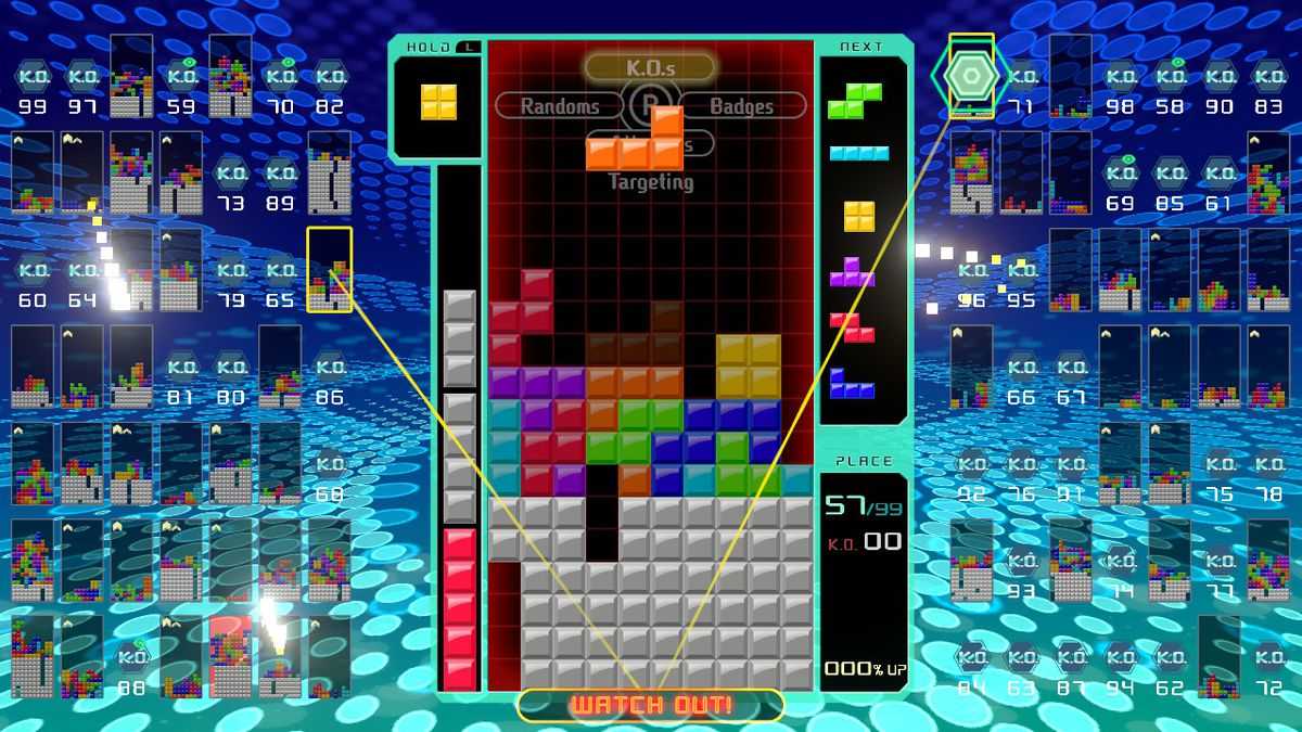 Showing off the targeting system in Tetris 99