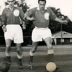 Tony Lazzeroni (right) of Hakoah Montreal and Montreal All-Stars