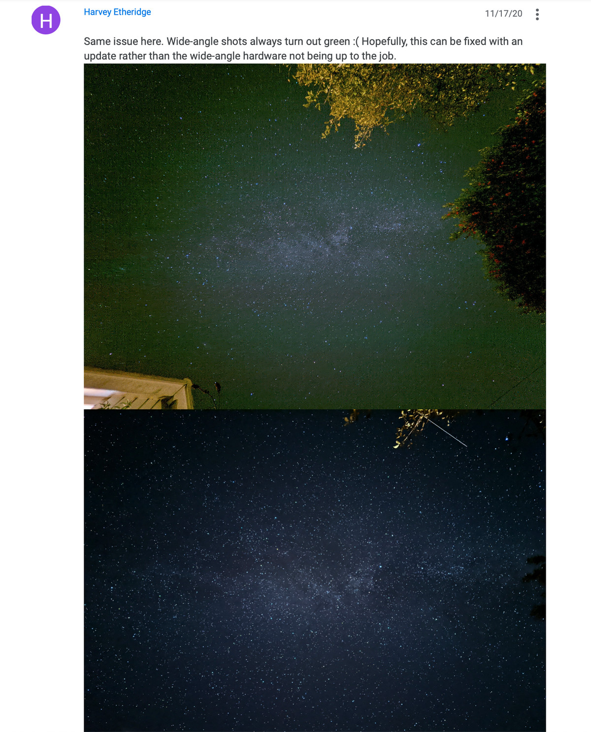 A screenshot of a forum post comparing the two camera's results in astrophotography mode.