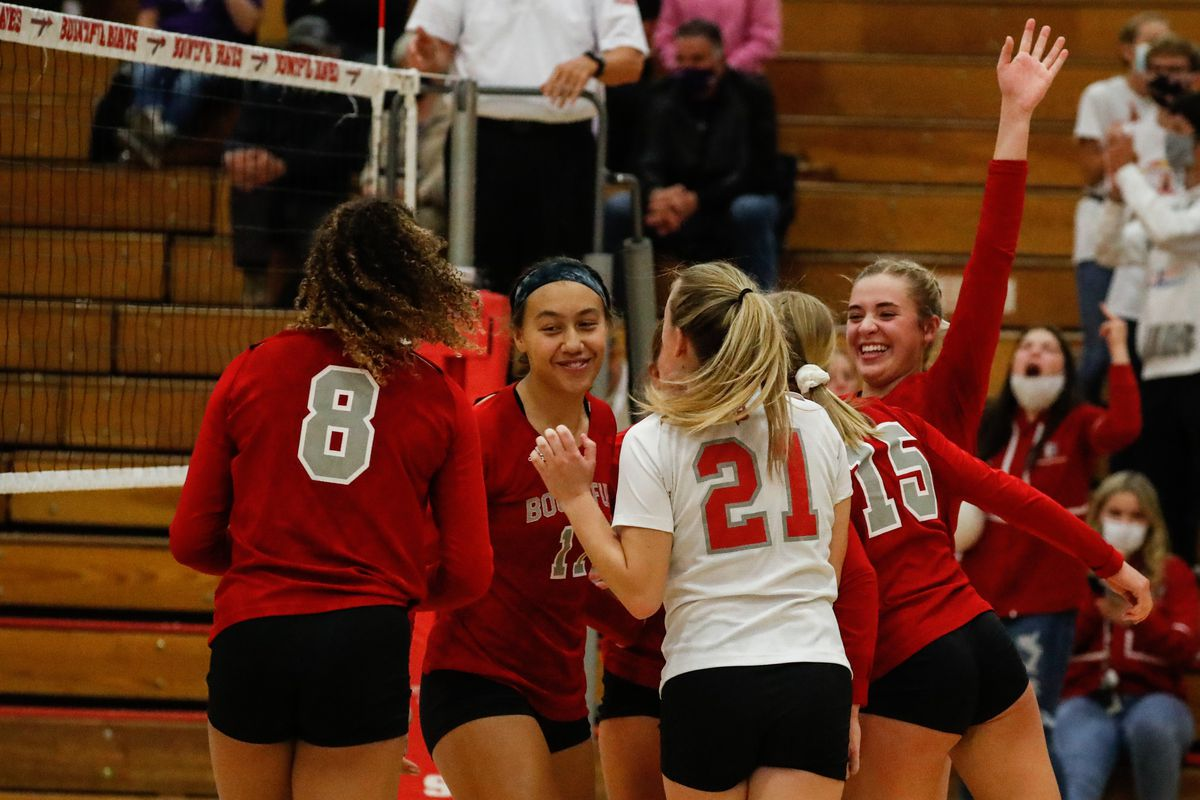 Bountiful players celebrate after scoring a point against Lehi during a high school 5A volleyball quarterfinal at Bountiful High School in Bountiful on Thursday, Nov. 5, 2020.