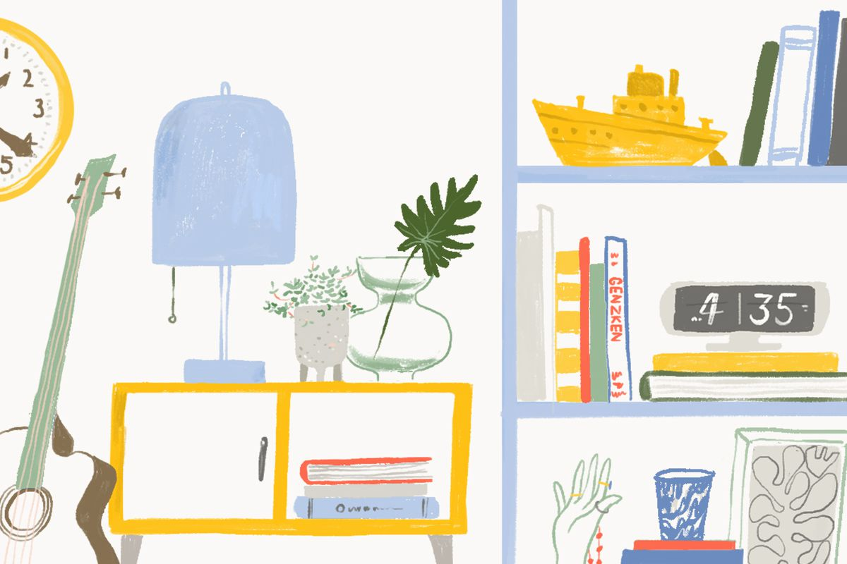 A shelf with a lamp and plant on it next to a shelf crowded with personal items including books, a digital clock, a porcelain hand and a model boat. There's a guitar leaning off to the side under a gold clock. Illustration.
