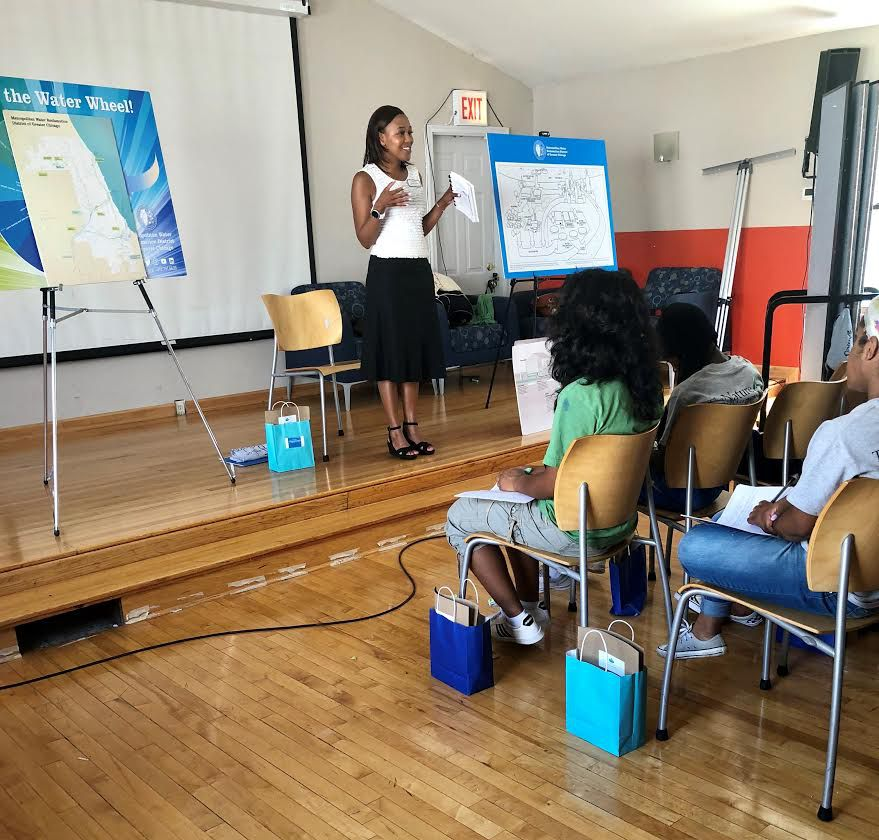 New Metropolitan Water Reclamation District President Kari K. Steele engages youth in the Faith in Place Eco-Ambassadors Program, which encourages multi-faith involvement in earth preservation efforts. | Provided photo