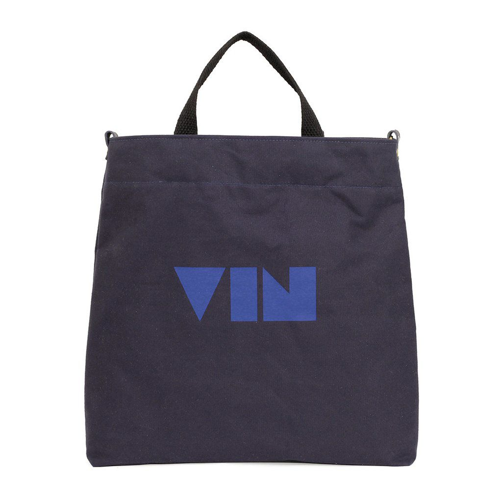 """A blue wine tote that reads """"Vin"""" in cobalt letters."""