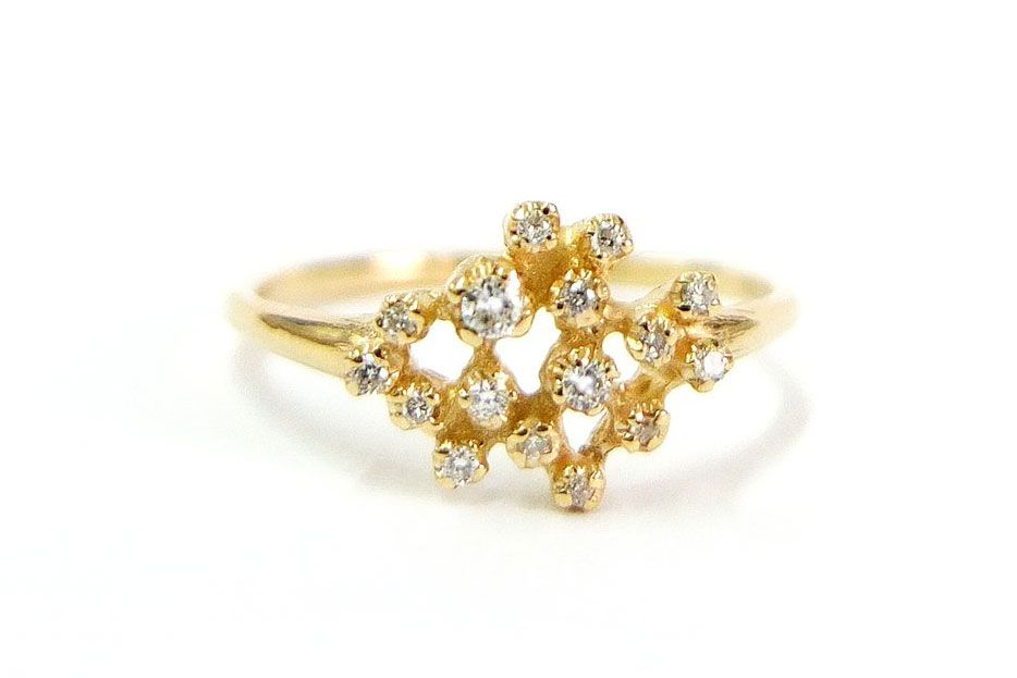 A gold cluster ring