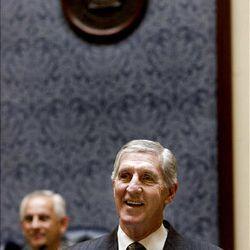 Recently retired Jazz coach Jerry Sloan is honored in the Senate at the Utah State Capitol on Monday, March 7, 2011.