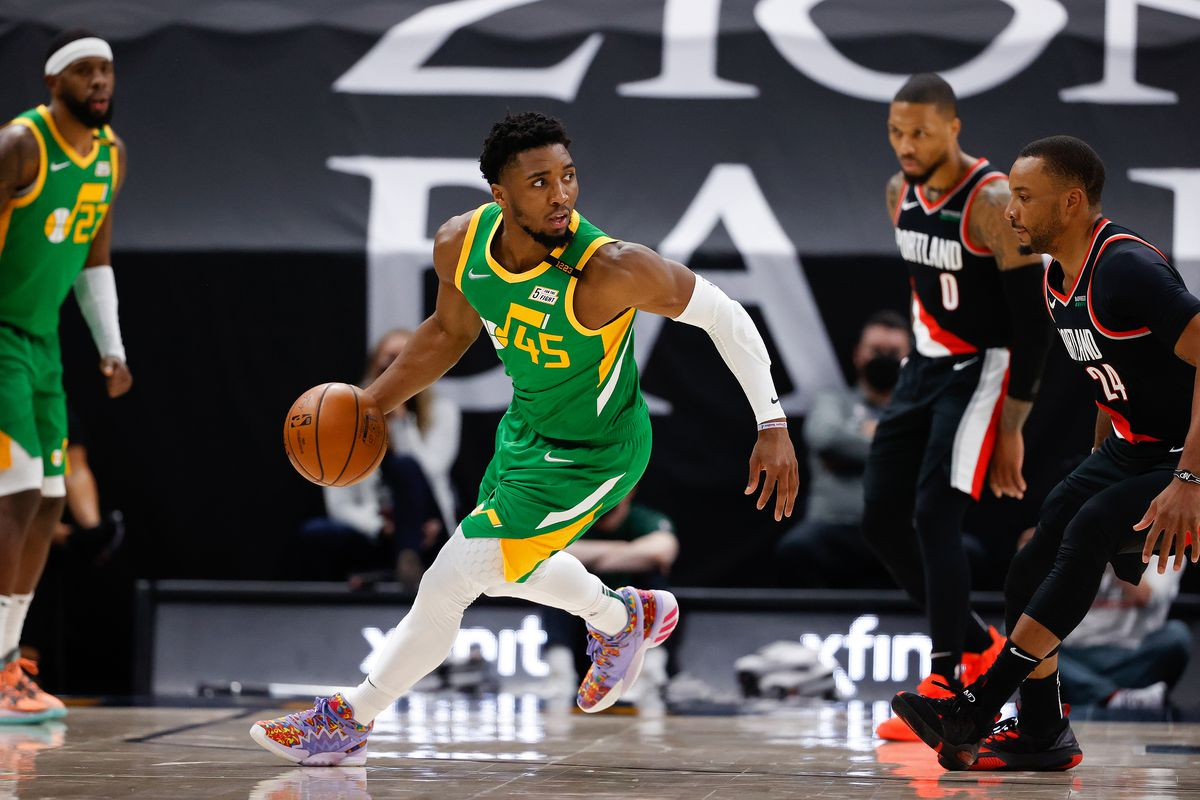 Donovan Mitchell of the Utah Jazz dribbles during the game against the Portland Trail Blazers on April 8, 2021 at vivint.SmartHome Arena in Salt Lake City, Utah.