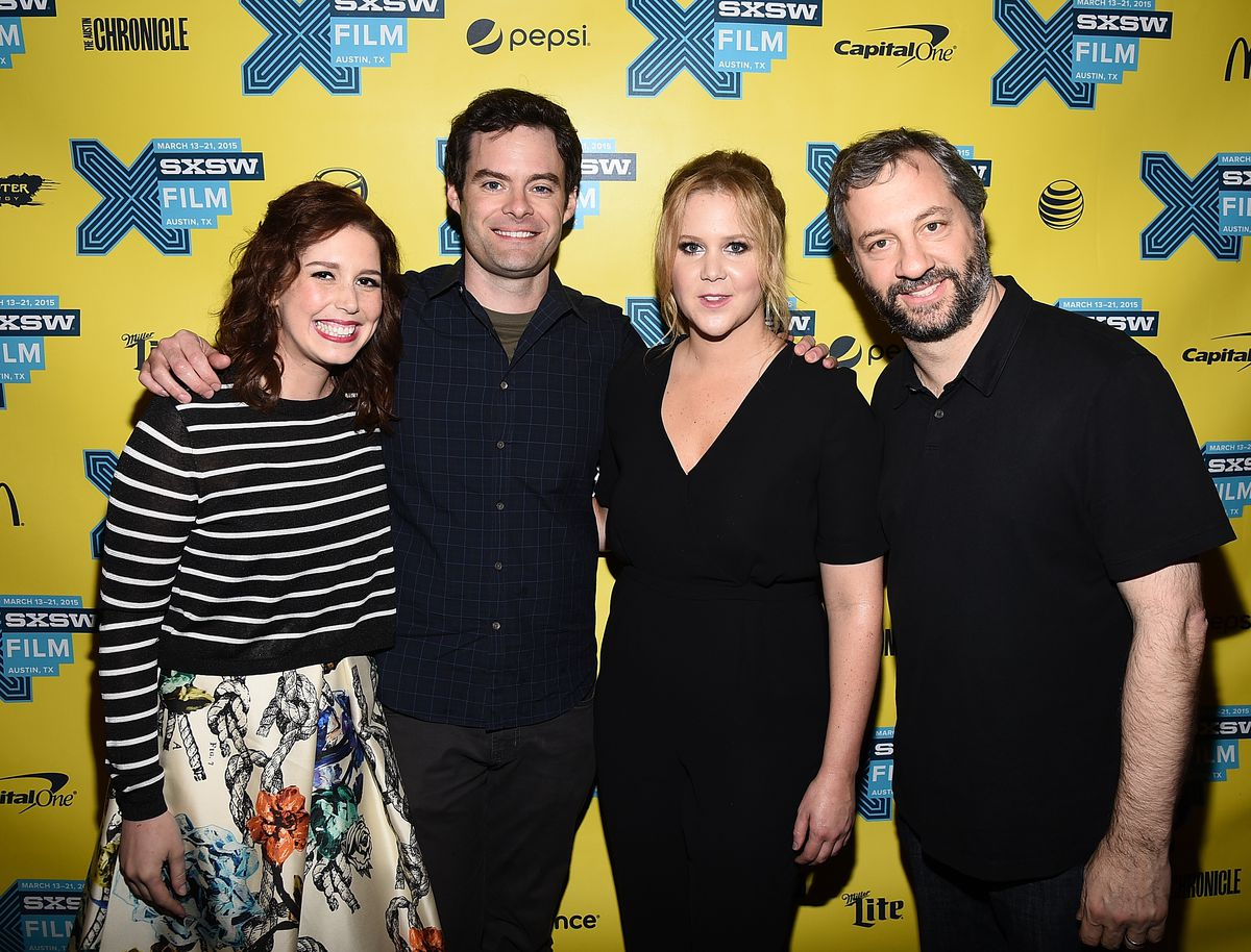 Vanessa Bayer, Bill Hader, Schumer, and Apatow arrive at the screening of Trainwreck during the 2015 SXSW Music, Film + Interactive Festival at the Paramount on March 15, 2015 in Austin, Texas.