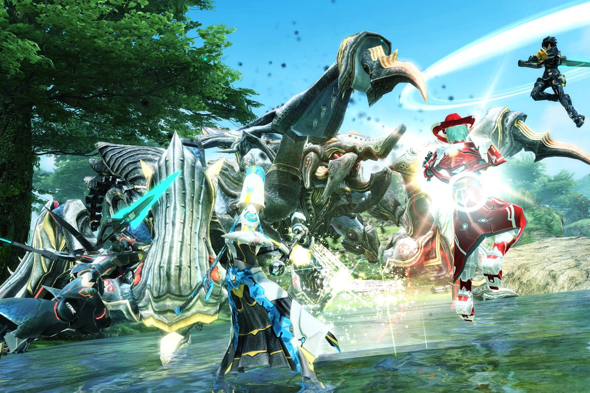 A group of players battle a four-legged boss in a lake setting in a screenshot from Phantasy Star Online 2