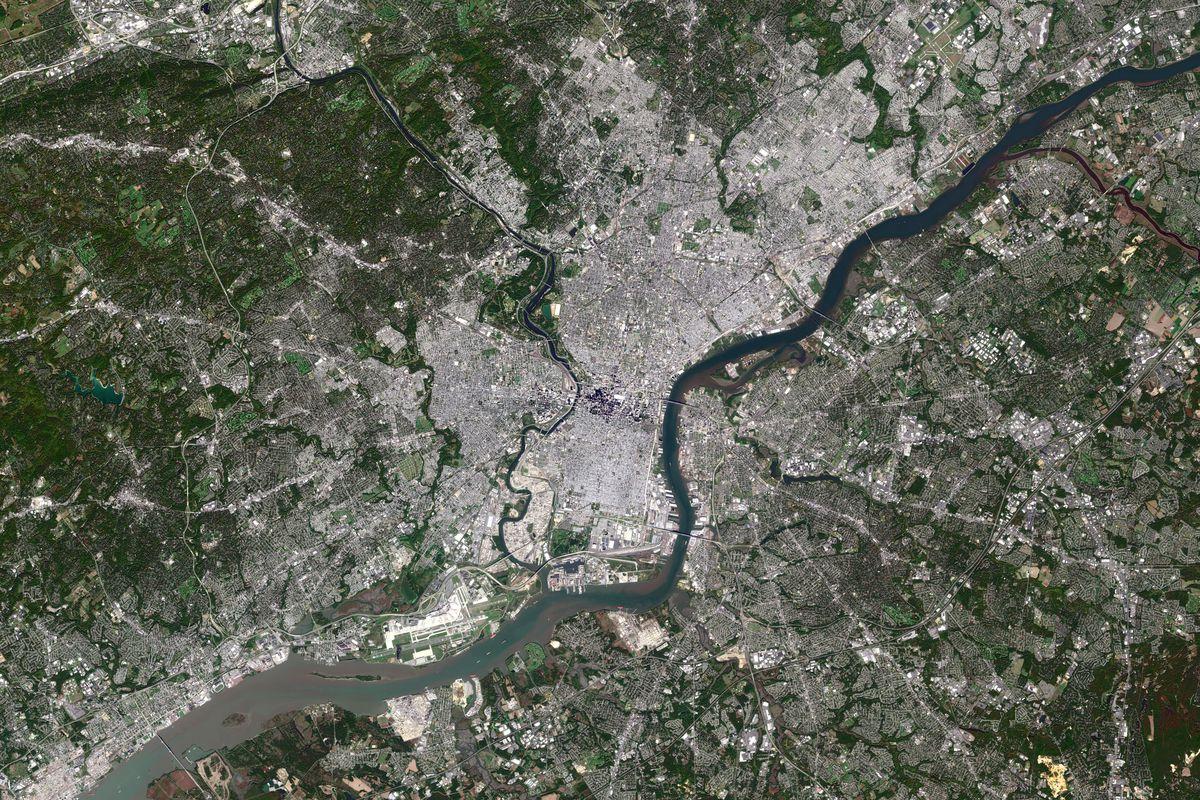 PHILADELPHIA, PA, OCTOBER 18, 2016: This is an enhanced Sentinel Satellite Image of Philadelphia, Pennsylvania.