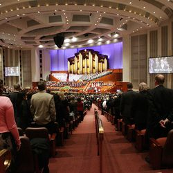 A congregational hymn is sung during the 182nd Annual General Conference for The Church of Jesus Christ of Latter-day Saints in Salt Lake City  Sunday, April 1, 2012.