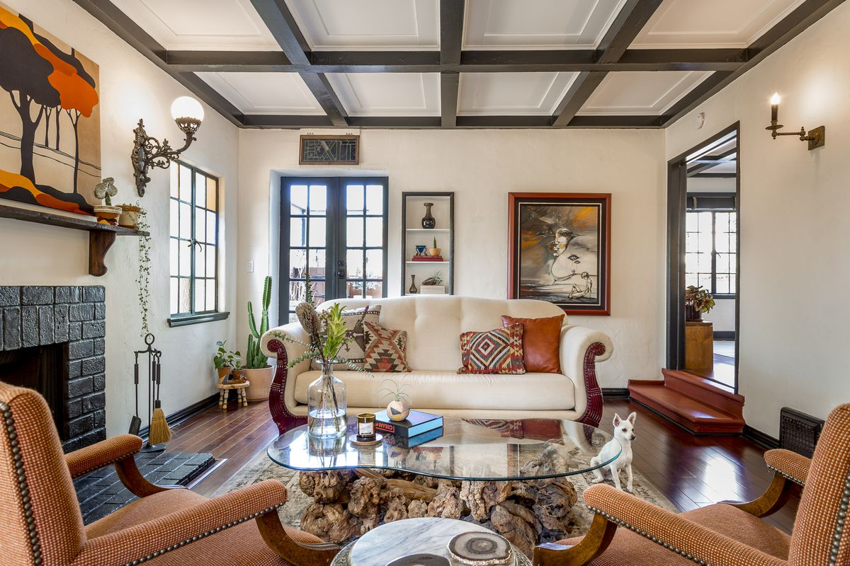 fetching ca home and design. The living room features hardwood floors  coffered ceilings and a brick fireplace Photos courtesy Sheri Curtis John Aaroe Group Fetching 1930s home in Atwater Village asks 1 15M Curbed LA