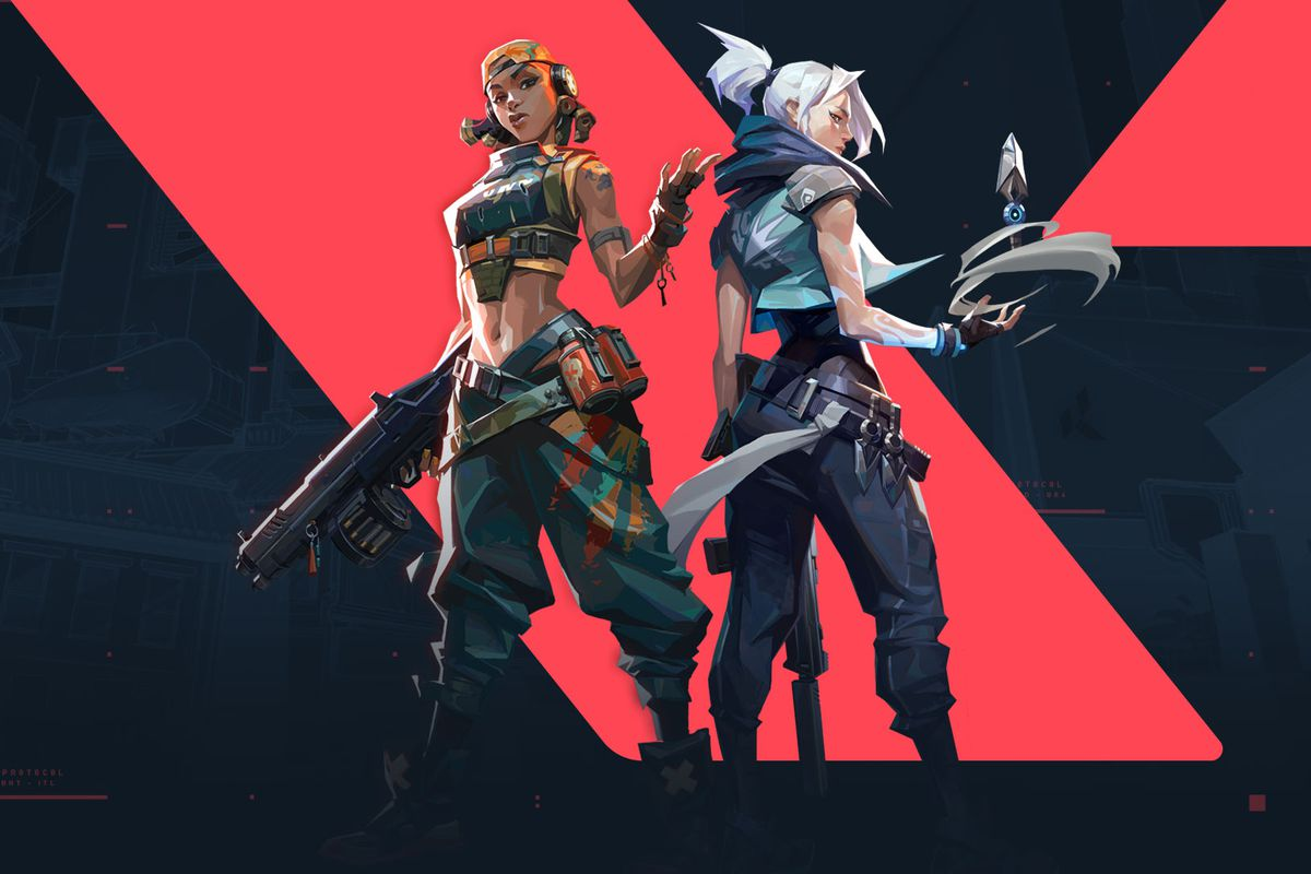 Raze and Jett from Valorant stand facing the camera with the game's logo behind them