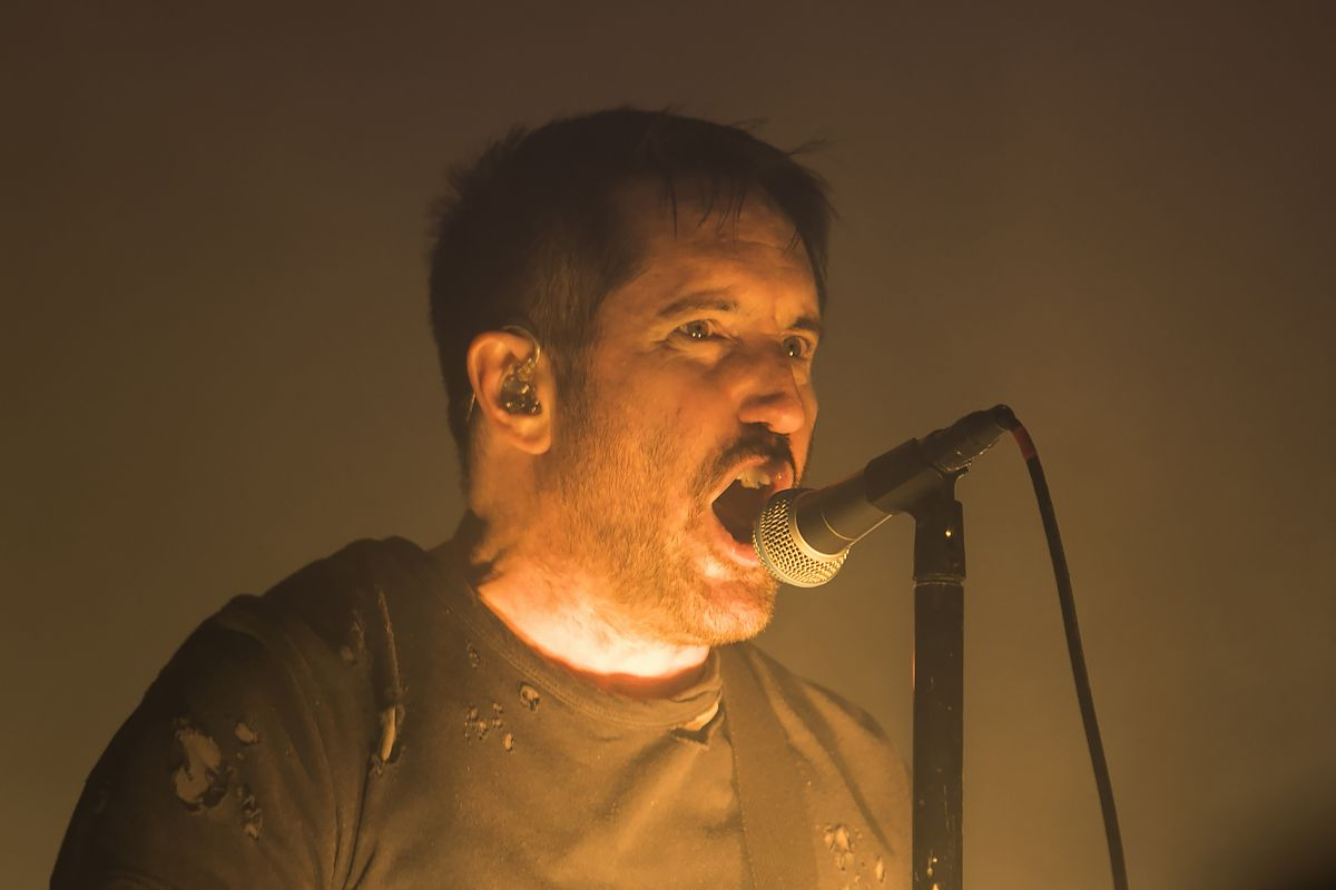 Trent Reznor, of Nine Inch Nails, performs on day one of Riot Fest in Douglas Park. | Ashlee Rezin/Sun-Times