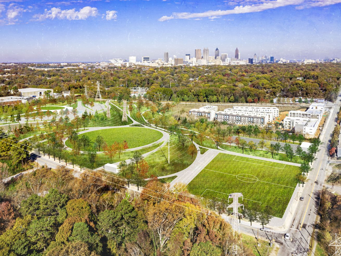 A rendering of large green spaces that would be a park expansion south of downtown Atlanta.