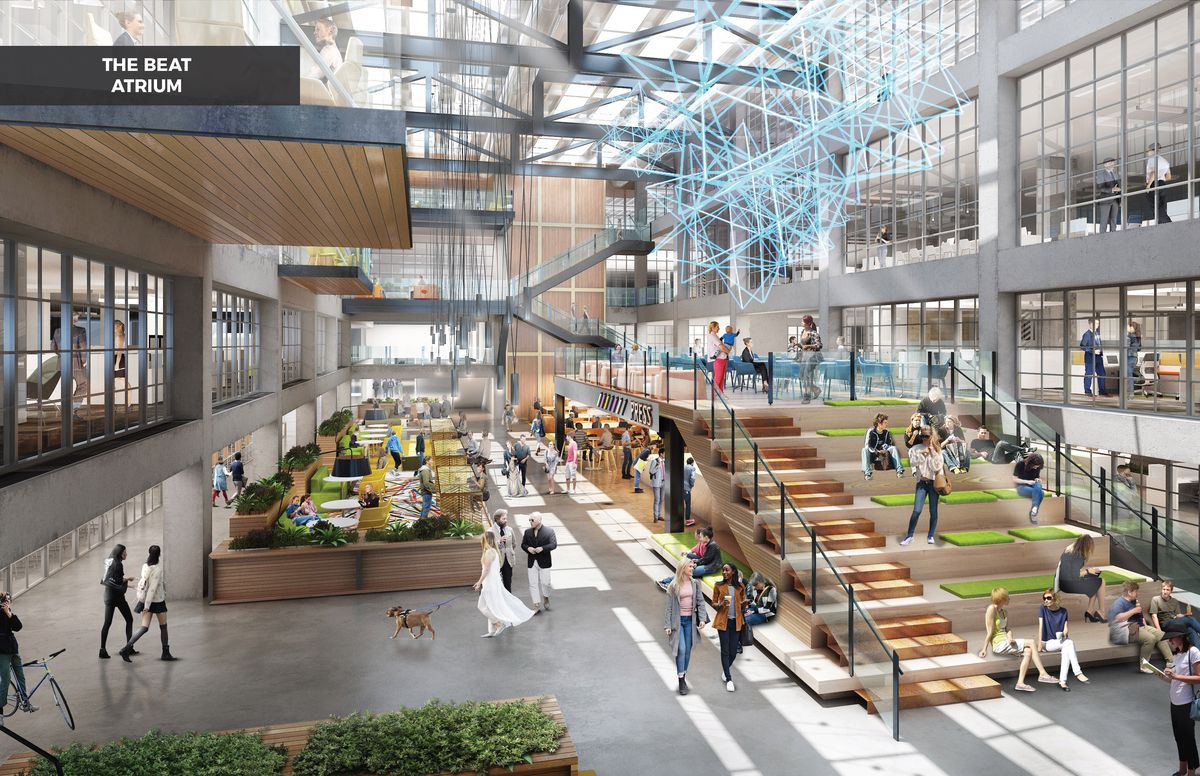 Rendering of the capacious interior of a mall-like building, complete with lots of people and a large set of stairs in the middle.