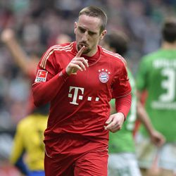 Bayern's Franck Ribery of France reacts after he scored the decisive goal during the German first division Bundesliga soccer match between Werder Bremen and Bayern Munich in Bremen, Germany, Saturday, April 21, 2012. Bremen was defeated by Bayern with 1-2.