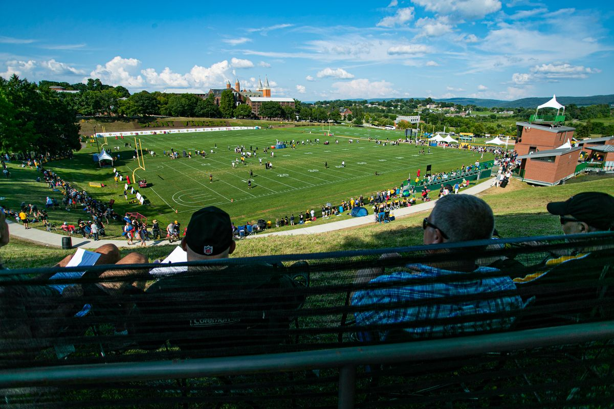 A general view of the fields from above during the Pittsburgh Steelers training camp on August 3, 2019 at Chuck Noll Stadium at Saint Vincent College in Latrobe, PA.