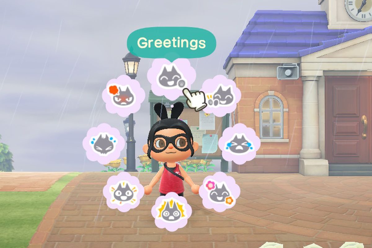 An Animal Crossing character stands with a wheel of different emotions around her