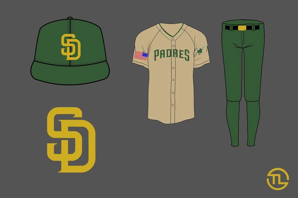 Padres uniform redesign military sunday khaki green