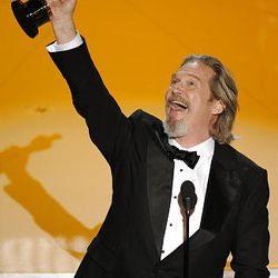 """Jeff Bridges accepts Oscar for best performance by an actor in a leading role for his performance in """"Crazy Heart."""""""