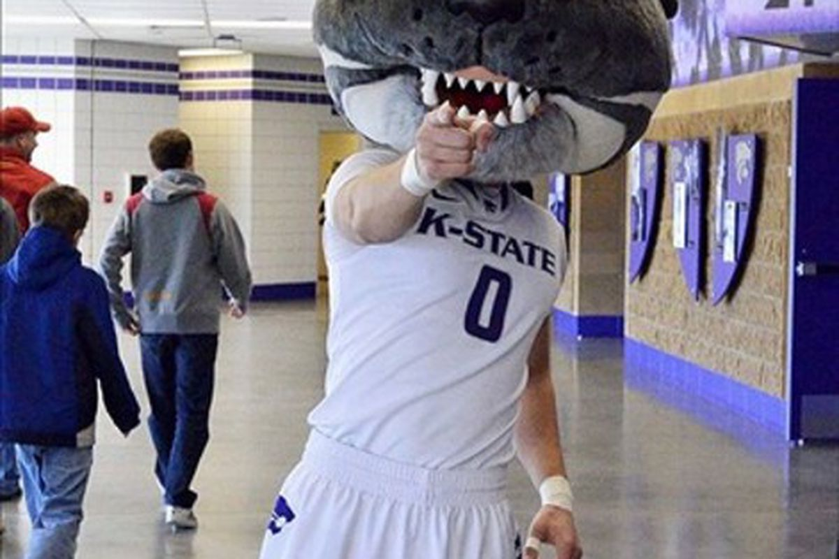 February 25, 2012; Manhattan, KS, USA; The Kansas State Wildcats mascot Willie greets fans before the game against the Iowa State Cyclones at Fred Bramlage Coliseum. Mandatory Credit: Denny Medley-US PRESSWIRE