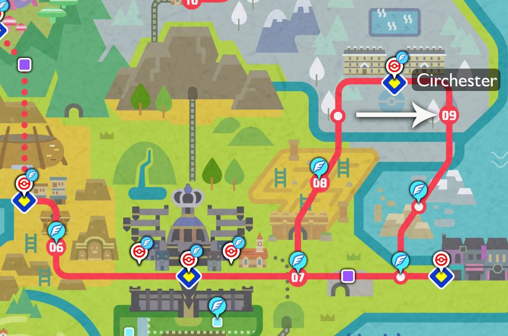 A map of the Galar region points out where to upgrade your bike in Pokémon Sword and Shield