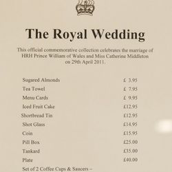 Price list for the range of official Royal Wedding souvenirs.